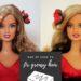 před a po odmaštění vlasů Barbie