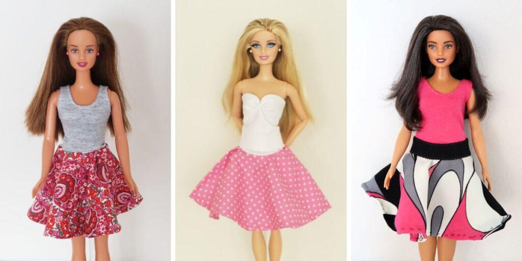 kolové sukně pro Barbie