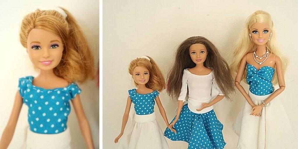 puntíkovaný set pro Barbie sestřičky