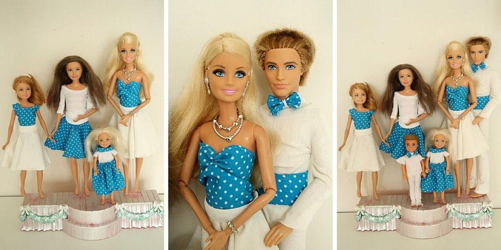 puntíkovaný set pro Barbie rodinu