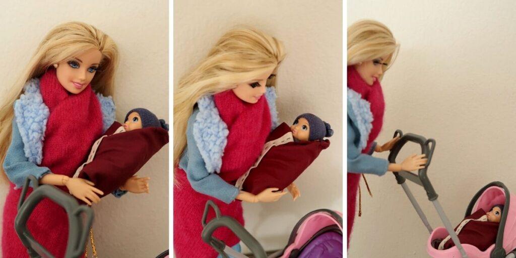 Barbie ukládá miminko do kočárku