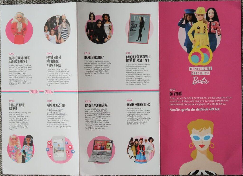 letáček stručná historie Barbie